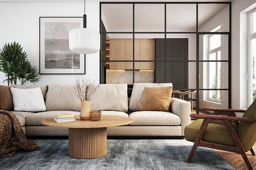 Cultures「Modern living room interior - 3d render」:スマホ壁紙(14)