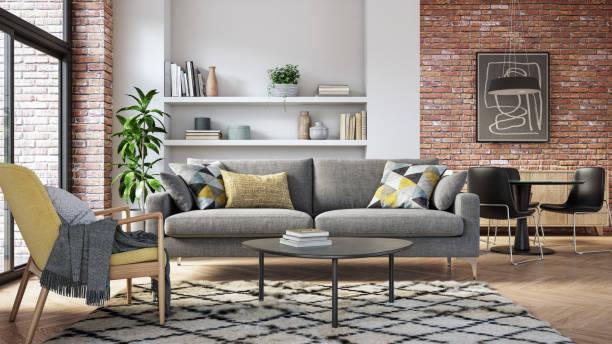 Modern living room interior - 3d render:スマホ壁紙(壁紙.com)