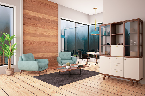 Pink「Modern Living Room with Sofa and Decorations」:スマホ壁紙(1)