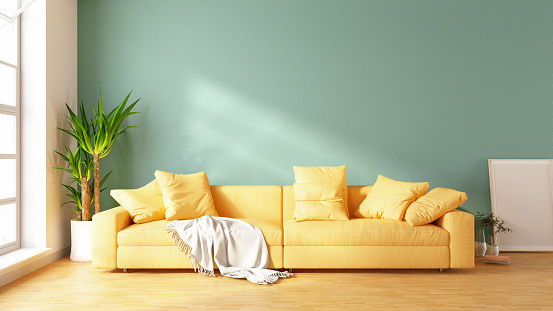 Green Color「Modern Living Room with Sofa and Decorations」:スマホ壁紙(3)