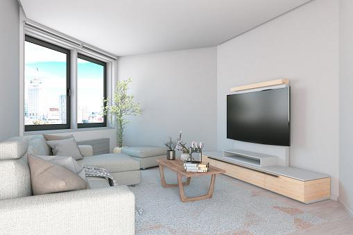 Fashion「Modern Living Room with Sofa and TV」:スマホ壁紙(12)