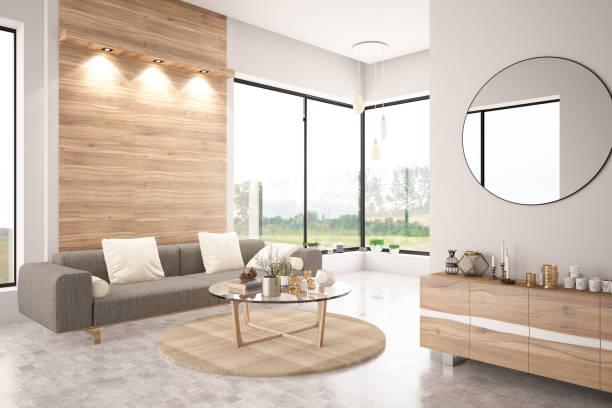 Modern Living Room with Sofa:スマホ壁紙(壁紙.com)