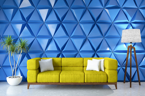 Multi Colored「Modern Living Room with Sofa and Blue Traingle Design Wall」:スマホ壁紙(6)