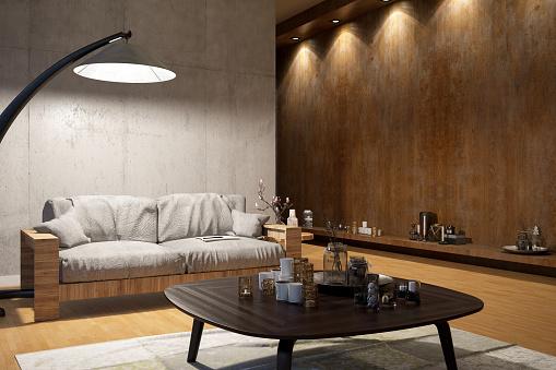 Spotlight「Modern Living Room with Sofa and SpotLights」:スマホ壁紙(15)