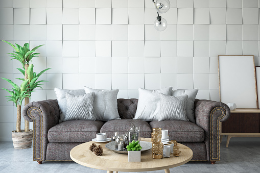 Branch - Plant Part「Modern Living Room with Sofa and Plants」:スマホ壁紙(5)