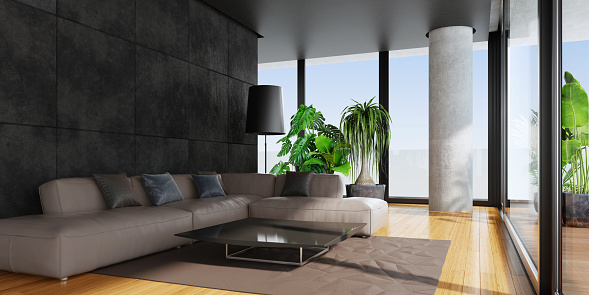 2019「Modern living room with big panoramic windows and bamboo floor」:スマホ壁紙(12)