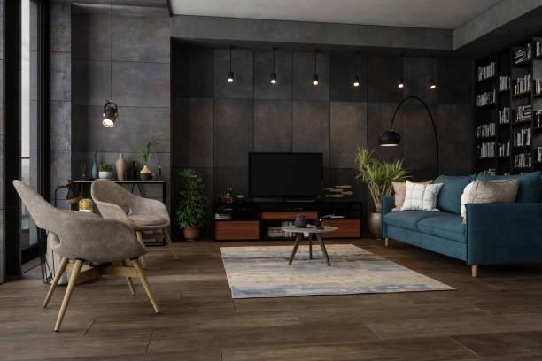 Modern Living Room In The Evening:スマホ壁紙(壁紙.com)