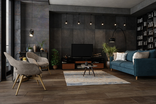 Flat「Modern Living Room In The Evening」:スマホ壁紙(14)