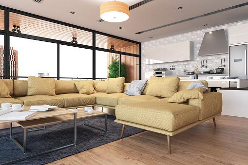 Parquet Floor「Modern Living Room with Open Kitchen」:スマホ壁紙(0)