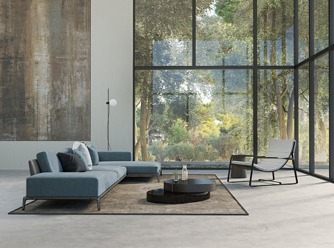 Clean「Modern living room with forest view」:スマホ壁紙(8)