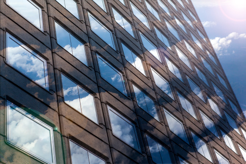 Multiple Exposure「Office building with blue sky and cloud」:スマホ壁紙(9)