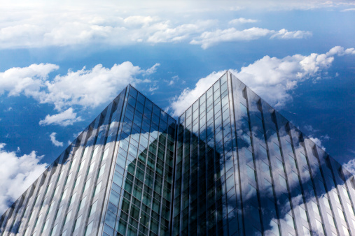 Multiple Exposure「Office building with blue sky and cloud」:スマホ壁紙(19)