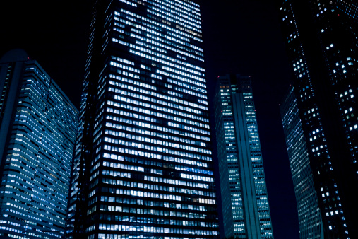 Skyscraper「Office building at night」:スマホ壁紙(1)