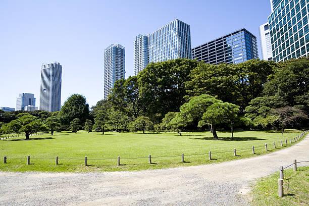 オフィスビル、日本庭園:スマホ壁紙(壁紙.com)