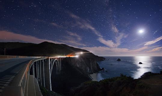 Bixby Creek Bridge「Bixby Bridge by moon light.」:スマホ壁紙(16)