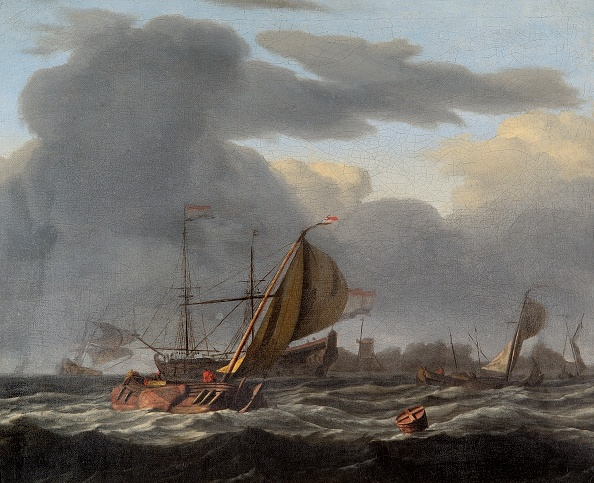 17th Century「A Warship At Anchor In A Rough Sea,」:写真・画像(14)[壁紙.com]