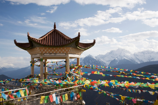Tibet「Buddhist temple and flags」:スマホ壁紙(7)