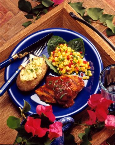 Baked Potato「Barbecued chicken with corn and baked potato」:スマホ壁紙(3)