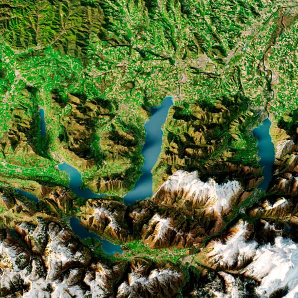Attersee Austria 3D Render Topographic Map Summer Top View:スマホ壁紙(壁紙.com)