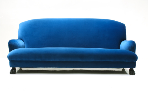 Softness「Blue velvet sofa on white background」:スマホ壁紙(13)