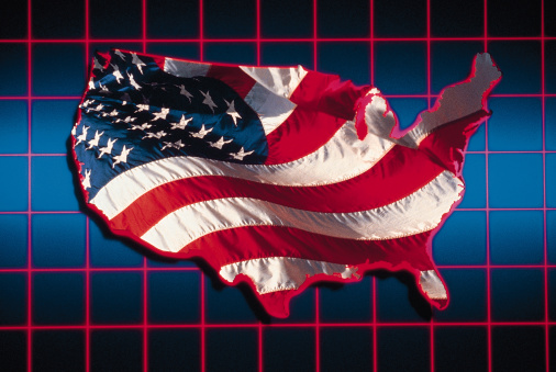 Multiple Exposure「Composite of grid with American map and flag」:スマホ壁紙(6)