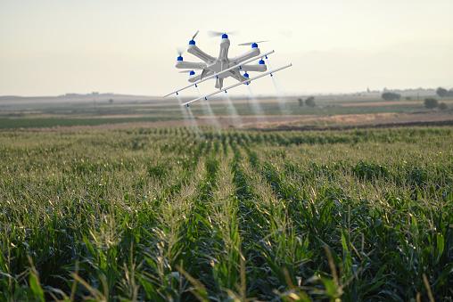 Spraying「Drone spraying a field」:スマホ壁紙(13)