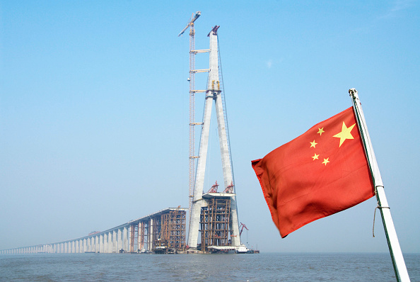 Copy Space「Pylon and approaches to Sutong Bridge that will span across the Yangtze River in Jiangsu Province, China」:写真・画像(10)[壁紙.com]