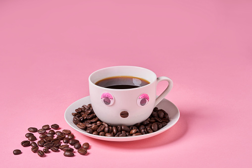 Mischief「Cup of Coffee with anthropomorphic face over Ping background」:スマホ壁紙(0)