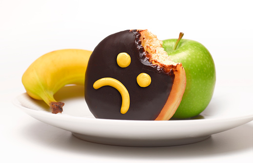 Frowning「Unhappy doughnut and fruit on plate」:スマホ壁紙(8)