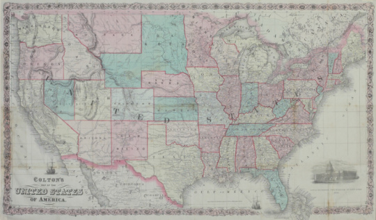 1866「Map of United States」:スマホ壁紙(1)