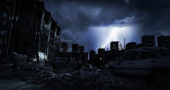 Destruction「Post Apocalypse Urban Landscape (Night)」:スマホ壁紙(2)