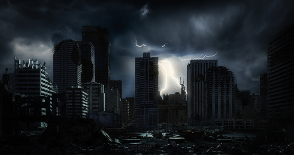 Thunderstorm「Post Apocalyptic Urban Landscape (Night)」:スマホ壁紙(6)