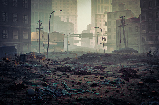 Grunge Image Technique「Post apocalypse destroyed city street」:スマホ壁紙(14)