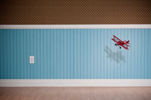 Old-fashioned「Red Biplane Flying In Empty Room」:スマホ壁紙(2)