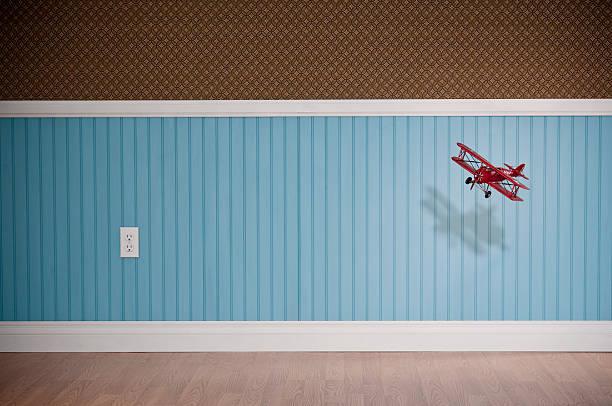 Red Biplane Flying In Empty Room:スマホ壁紙(壁紙.com)