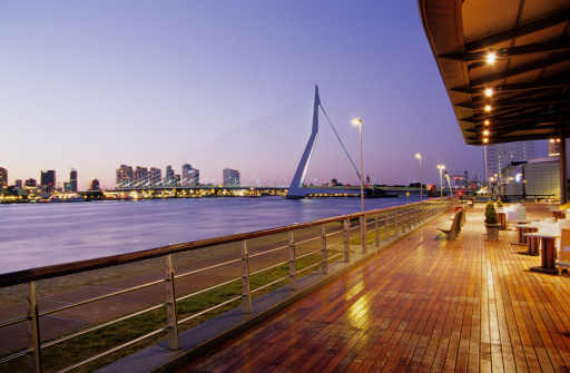 Riverbank「Rotterdam, Erasmus Bridge from Koninginnenhoofd, Netherlands」:スマホ壁紙(13)