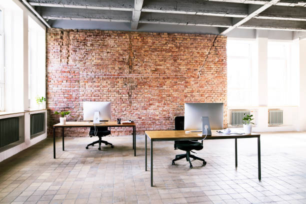 Coworking space with brick wall in office:スマホ壁紙(壁紙.com)