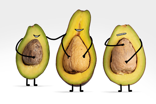 Cartoon「Avocado friends with illustrated facial features show off their seed tummies」:スマホ壁紙(14)