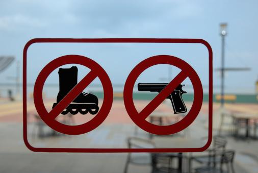 Roller skate「Restaurant entrance door with 'firearms' and 'roller-skates' forbidden sign」:スマホ壁紙(14)
