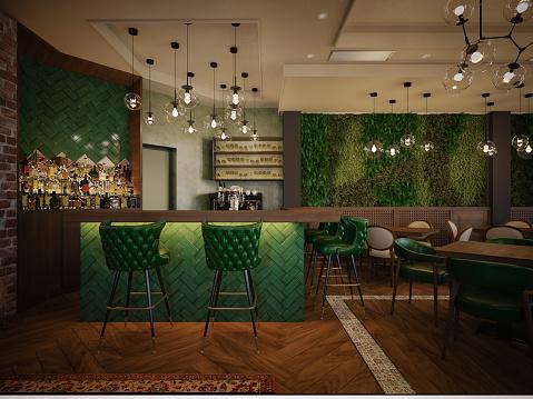 Nightclub「Restaurant. Interior design. Computer generated image. Architectural Visualization. 3D rendering.」:スマホ壁紙(4)