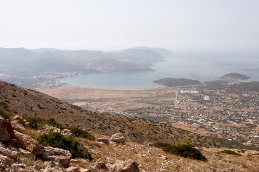 Aegean Sea「Greece, Attiki, elevated view of town on coast」:スマホ壁紙(2)