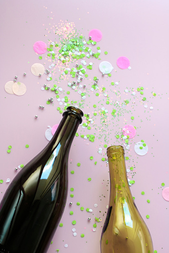 Wine Bottle「Stillife with champagne and wine bottle and confetti」:スマホ壁紙(10)