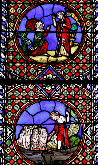Hell「Notre-Dame du Port basilica, Clermont-Ferrand, Auvergne. France. Stained glass.」:スマホ壁紙(0)