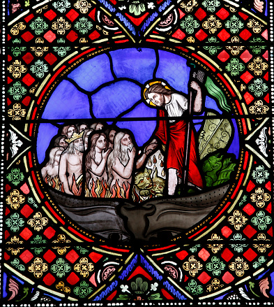 Hell「Notre-Dame du Port basilica, Clermont-Ferrand, Auvergne. France. Stained glass.」:スマホ壁紙(12)