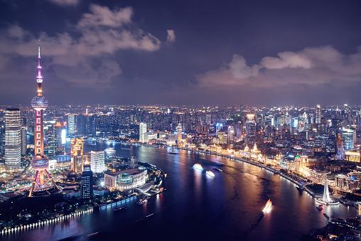 4k「近代的な街並みと上海の街並みの眺め」:スマホ壁紙(2)