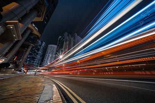 Light Trail「Modern city traffic at night, Hong Kong」:スマホ壁紙(5)