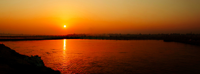 Spirituality「Golden Sunset on Ghats over river Ganga, Varanasi, India」:スマホ壁紙(0)