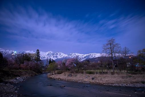 夜桜「River at Night, Ooide, Nagano, Japan」:スマホ壁紙(19)