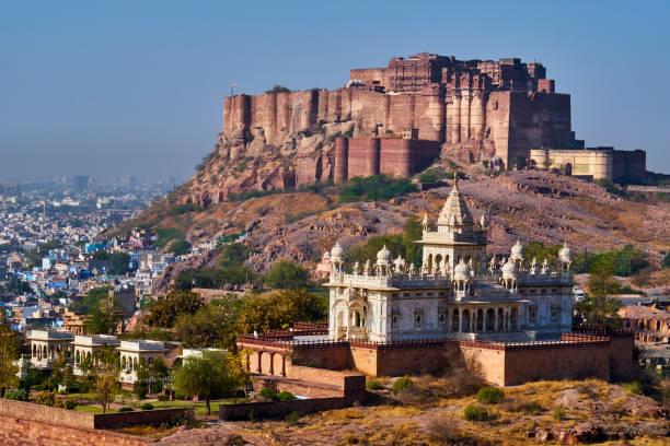 India, Rajasthan, Jodhpur, the blue city, Mehrangarh Fort:スマホ壁紙(壁紙.com)