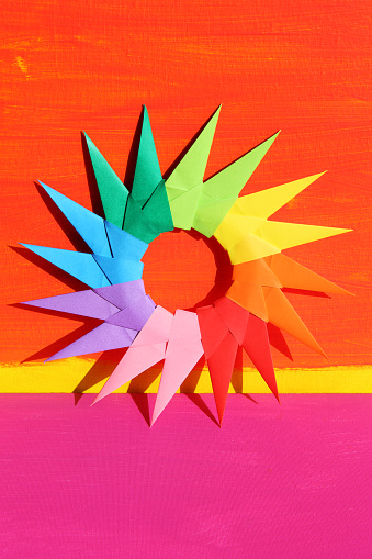 Multi-Colored Background「Colorful Origami Starburst on Painted Backdrop」:スマホ壁紙(9)